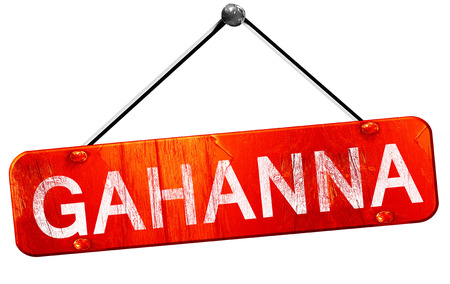 hanging sign: gahanna, 3D rendering, a red hanging sign