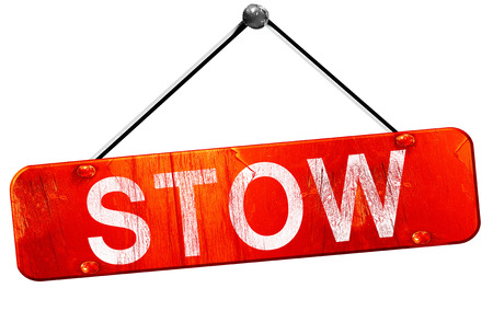 stow: stow, 3D rendering, a red hanging sign Stock Photo