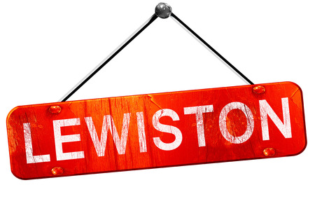 lewiston: lewiston, 3D rendering, a red hanging sign
