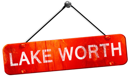 worth: lake worth, 3D rendering, a red hanging sign