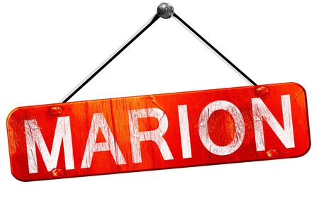 marion: marion, 3D rendering, a red hanging sign