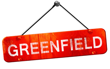 greenfield, 3D rendering, a red hanging sign Stock Photo