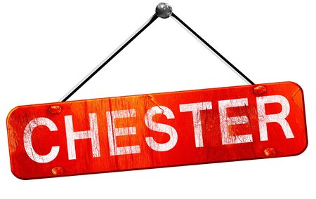 chester: chester, 3D rendering, a red hanging sign Stock Photo