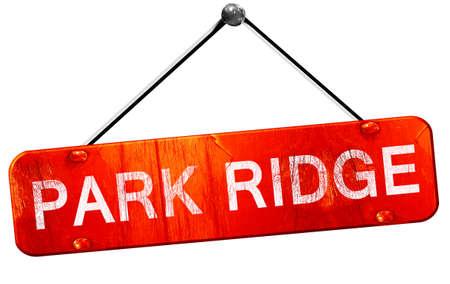 ridge: park ridge, 3D rendering, a red hanging sign Stock Photo