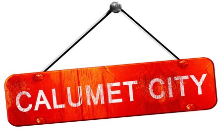 calumet city, 3D rendering, a red hanging sign