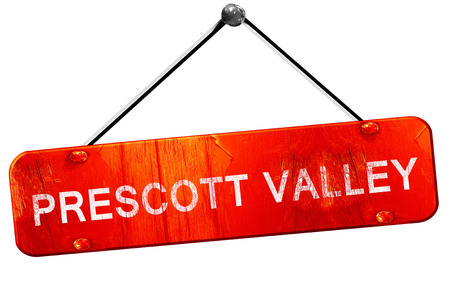 valley: prescott valley, 3D rendering, a red hanging sign Stock Photo