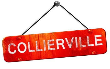 hanging sign: collierville, 3D rendering, a red hanging sign