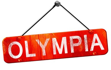 hanging sign: olympia, 3D rendering, a red hanging sign