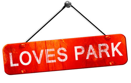 loves: loves park, 3D rendering, a red hanging sign Stock Photo