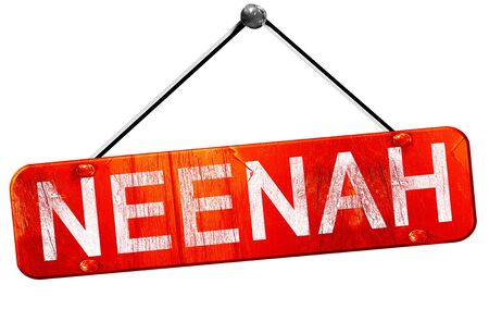 hanging sign: neenah, 3D rendering, a red hanging sign