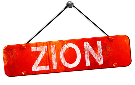 zion: zion, 3D rendering, a red hanging sign