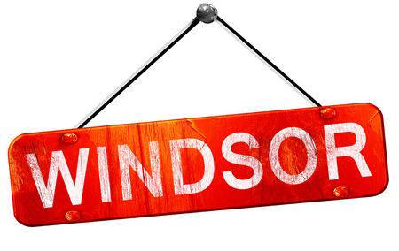 windsor: windsor, 3D rendering, a red hanging sign Stock Photo