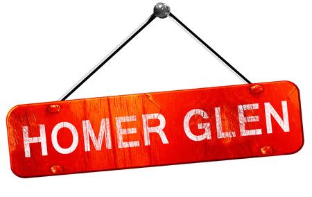 homer: homer glen, 3D rendering, a red hanging sign