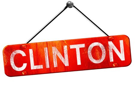 hanging sign: clinton, 3D rendering, a red hanging sign