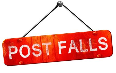 sign post: post falls, 3D rendering, a red hanging sign