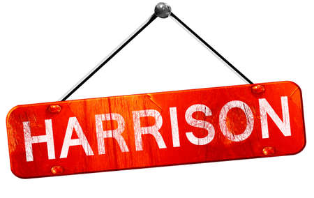 hanging sign: harrison, 3D rendering, a red hanging sign