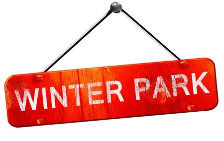 winter park: winter park, 3D rendering, a red hanging sign