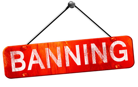 banning, 3D rendering, a red hanging sign