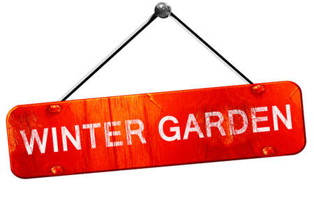 winter garden: winter garden, 3D rendering, a red hanging sign Stock Photo