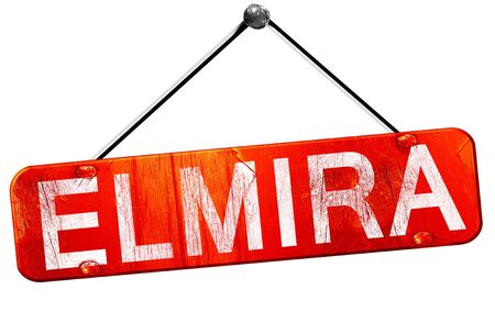 hanging sign: elmira, 3D rendering, a red hanging sign