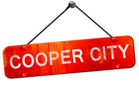 cooper: cooper city, 3D rendering, a red hanging sign