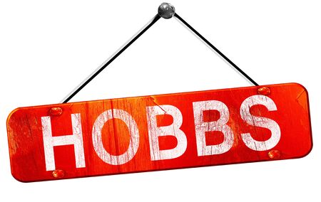 hanging sign: hobbs, 3D rendering, a red hanging sign Stock Photo