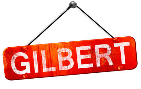 gilbert: gilbert, 3D rendering, a red hanging sign