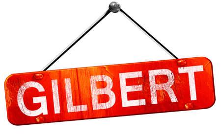 gilbert: gilbert, 3D rendering, a red hanging sign
