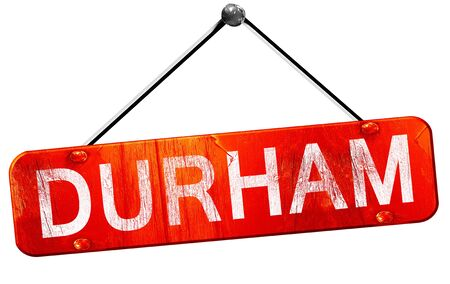 durham: durham, 3D rendering, a red hanging sign
