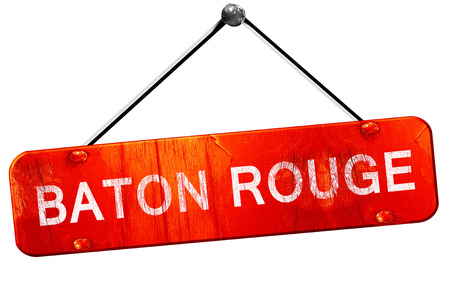 baton rouge: baton rouge, 3D rendering, a red hanging sign