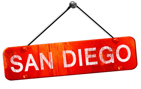 san diego: san diego, 3D rendering, a red hanging sign