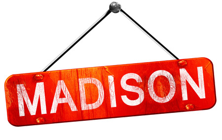 madison: madison, 3D rendering, a red hanging sign Stock Photo
