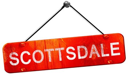 scottsdale, 3D rendering, a red hanging sign