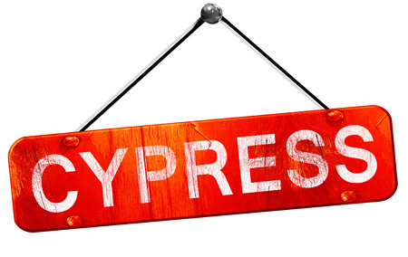 cypress: cypress, 3D rendering, a red hanging sign Stock Photo