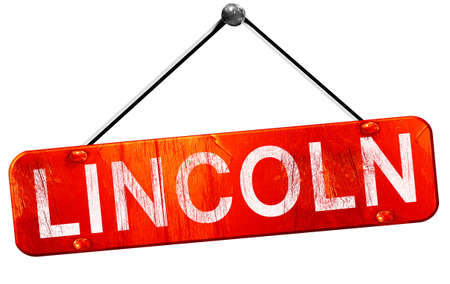 lincoln: lincoln, 3D rendering, a red hanging sign Stock Photo