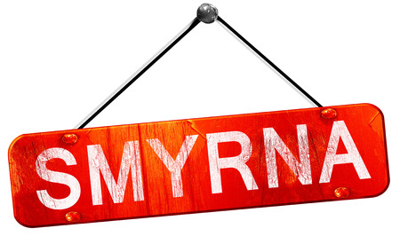 smyrna: smyrna, 3D rendering, a red hanging sign Stock Photo