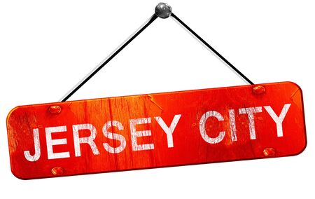 jersey city: jersey city, 3D rendering, a red hanging sign