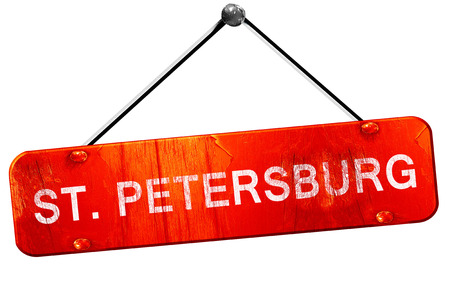 st petersburg: st. petersburg, 3D rendering, a red hanging sign Stock Photo