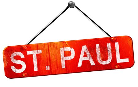 paul: st. paul, 3D rendering, a red hanging sign Stock Photo