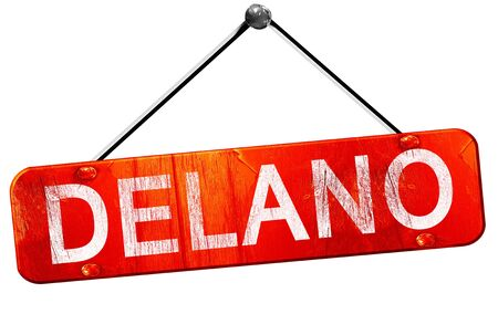 delano: delano, 3D rendering, a red hanging sign Stock Photo