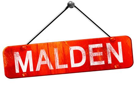 hanging sign: malden, 3D rendering, a red hanging sign