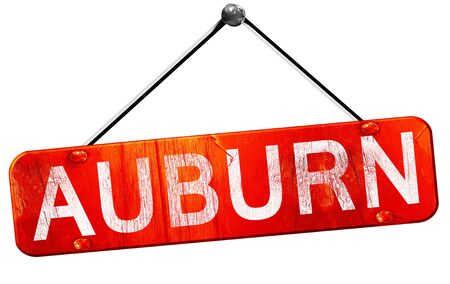 auburn: auburn, 3D rendering, a red hanging sign