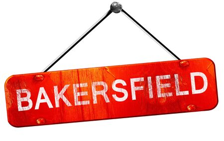 hanging sign: bakersfield, 3D rendering, a red hanging sign Stock Photo