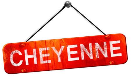 cheyenne: cheyenne, 3D rendering, a red hanging sign