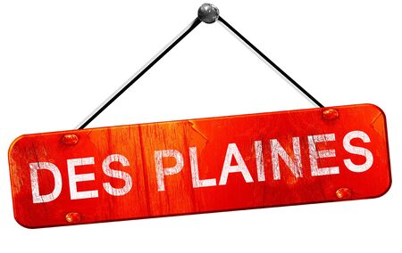 des: des plaines, 3D rendering, a red hanging sign