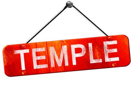 3d temple: temple, 3D rendering, a red hanging sign