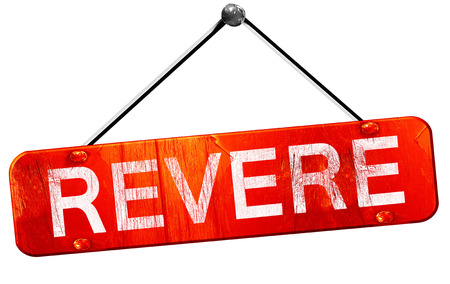 revere: revere, 3D rendering, a red hanging sign Stock Photo