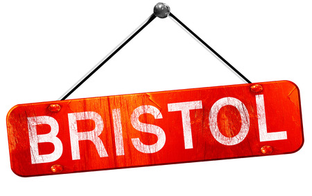 bristol: bristol, 3D rendering, a red hanging sign Stock Photo