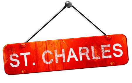 st charles: st. charles, 3D rendering, a red hanging sign