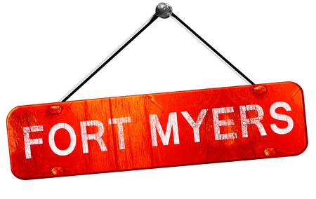 myers: fort myers, 3D rendering, a red hanging sign Stock Photo
